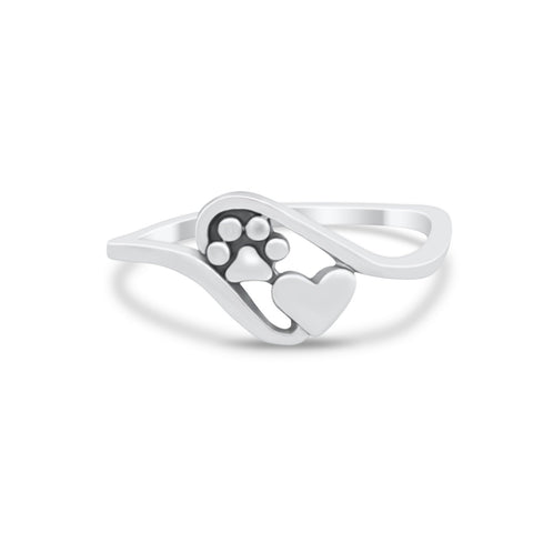 Paw Heart Promise Ring Band Solid 925 Sterling Silver