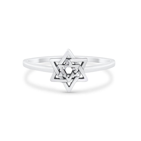 Star of David Jewish Star Ring Band Solid 925 Sterling Silver