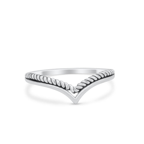 Midi Thumb Ring V Band Chevron Plain Solid Heart Cabl 925 Sterling Silver