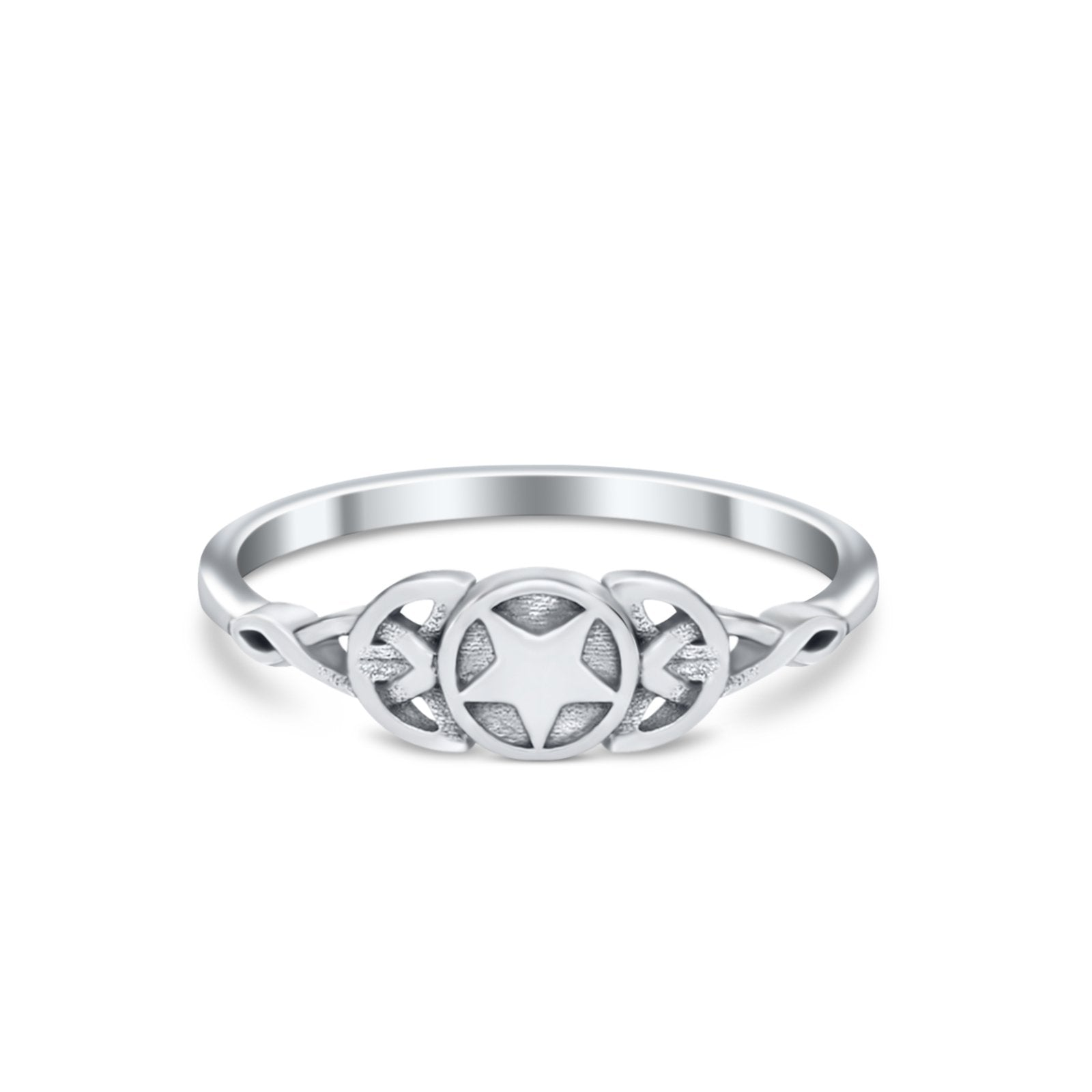 Petite Dainty Infinity Pentagram Star Thumb Ring Band Solid 925 Sterling silver