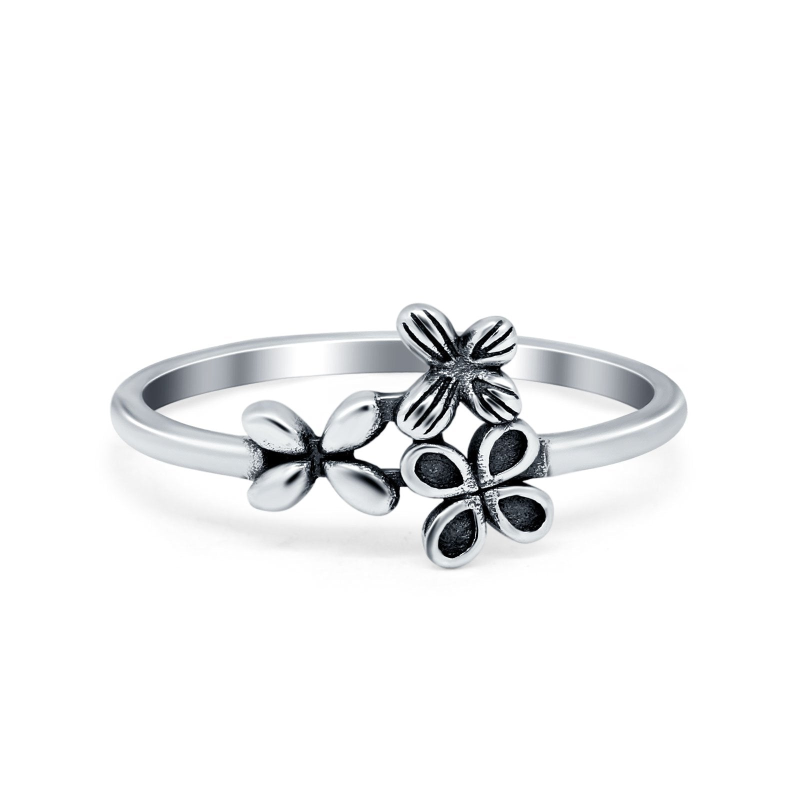 Three Butterflies Ring Plain Band Oxidized 925 Sterling Silver
