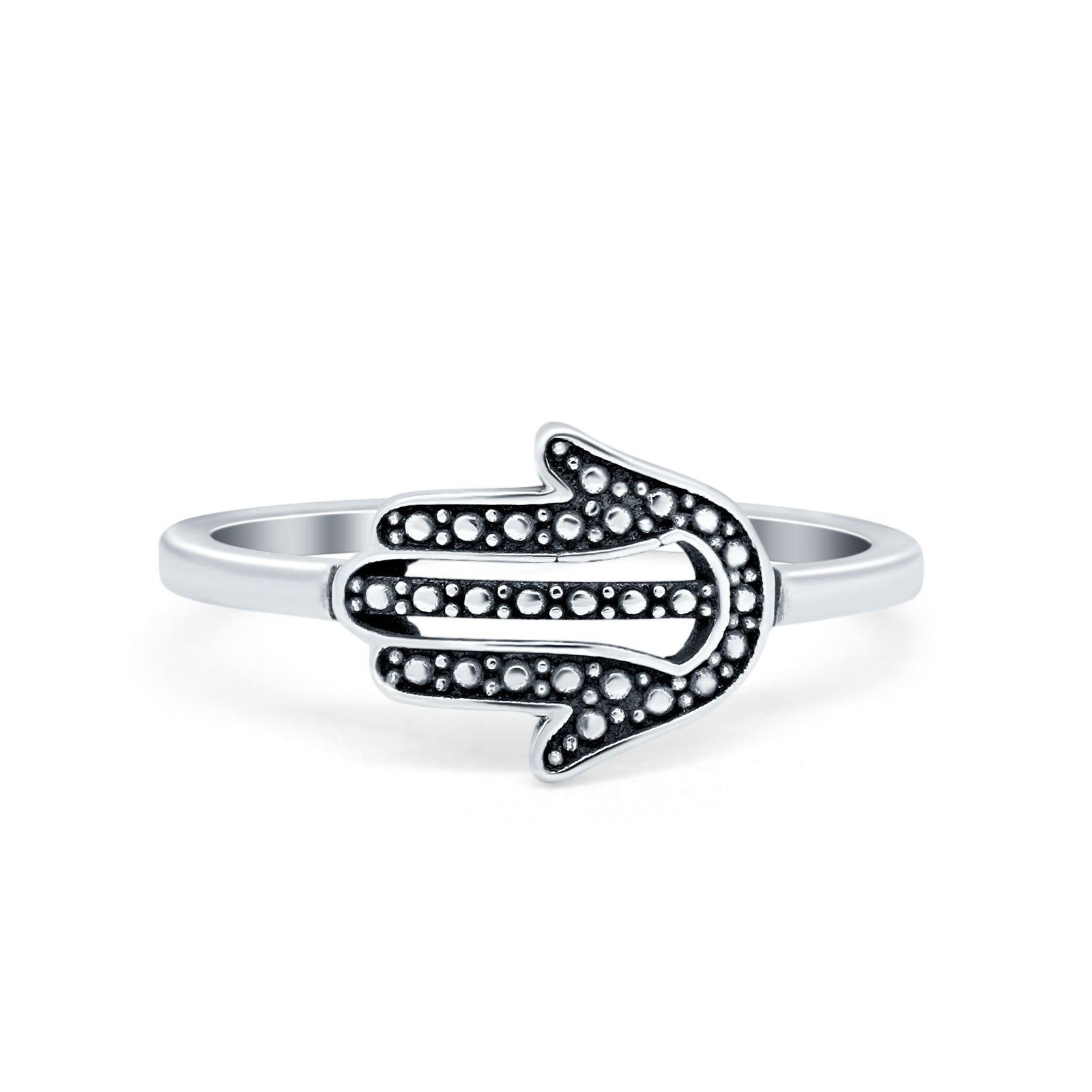 Oxidized Sideways Hamsa Plain Ring Band 925 Sterling Silver
