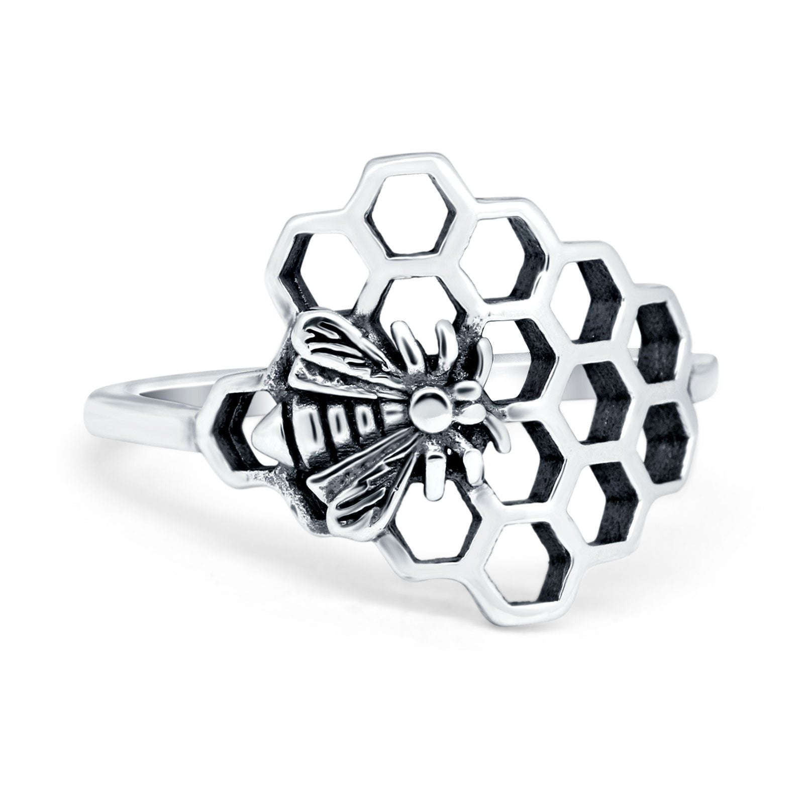 Bee and Honeycomb Plain Ring Band Oxidized 925 Sterling Silver