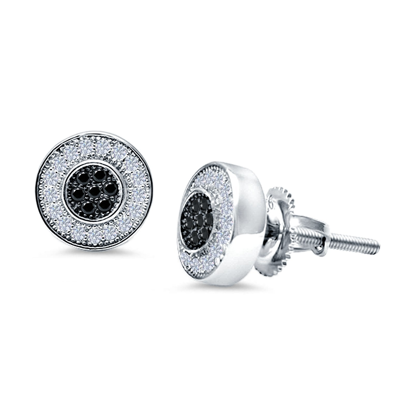 Micro Pave Stud Earrings Round Simulated Black CZ 925 Sterling Silver