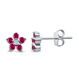 Cluster Flower Stud Earrings Round Simulated Ruby CZ 925 Sterling Silver