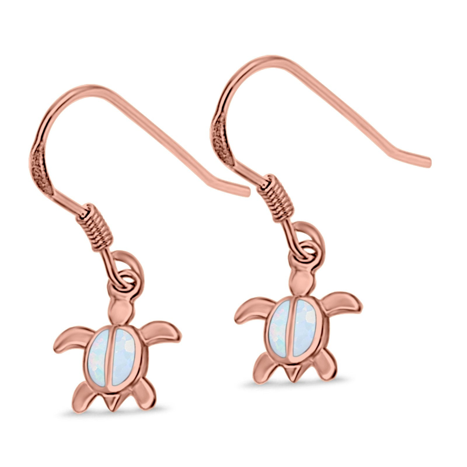 Drop Dangle Turtle Earrings Rose Tone, Lab Created White Opal 925 Sterling Silver
