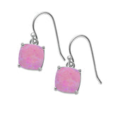 Halo Drop Dangle Earrings Cushion Lab Created Pink Opal Fish Hook 925 Sterling Silver (22mm)