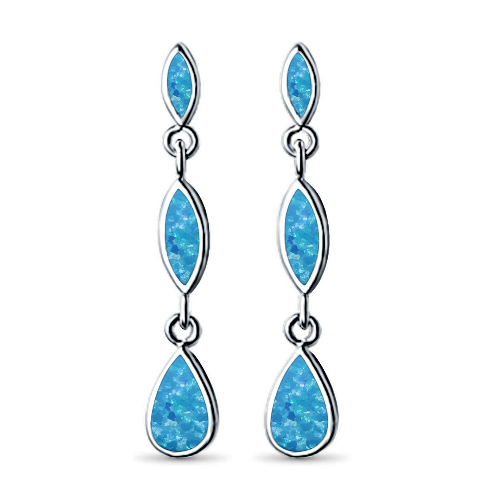 Dangle Marquise Earrings Pear Shape Lab Created Blue Opal 925 Sterling Silver