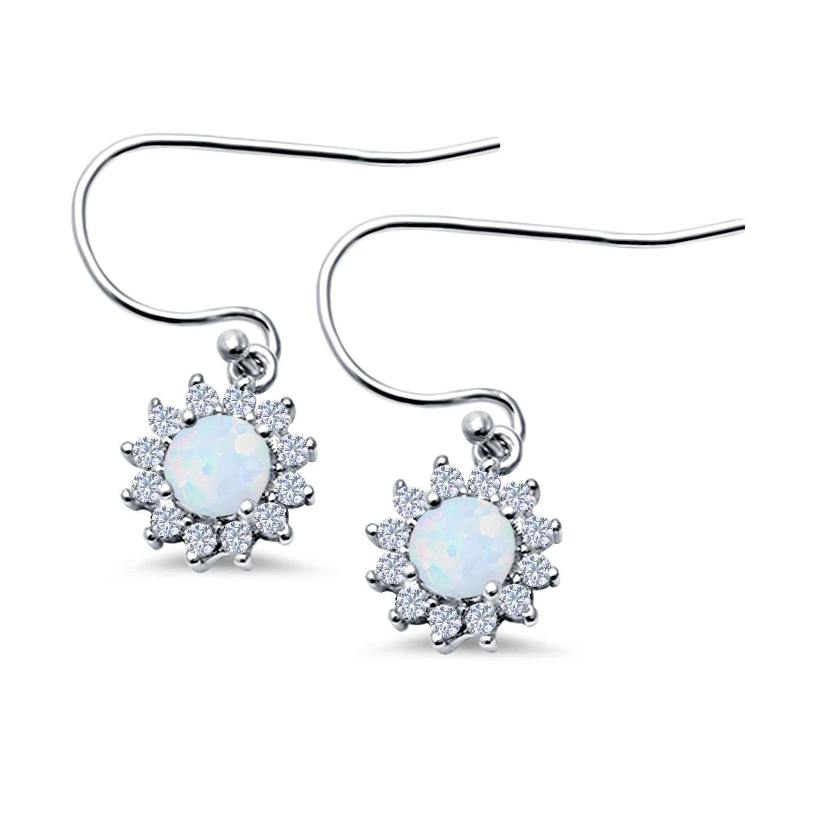 Drop Dangle Round Lab Created White Opal Earrings 925 Sterling Silver