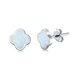 Clover Flower Stud Earring Lab Created White Opal 925 Sterling Silver (6.20mm)