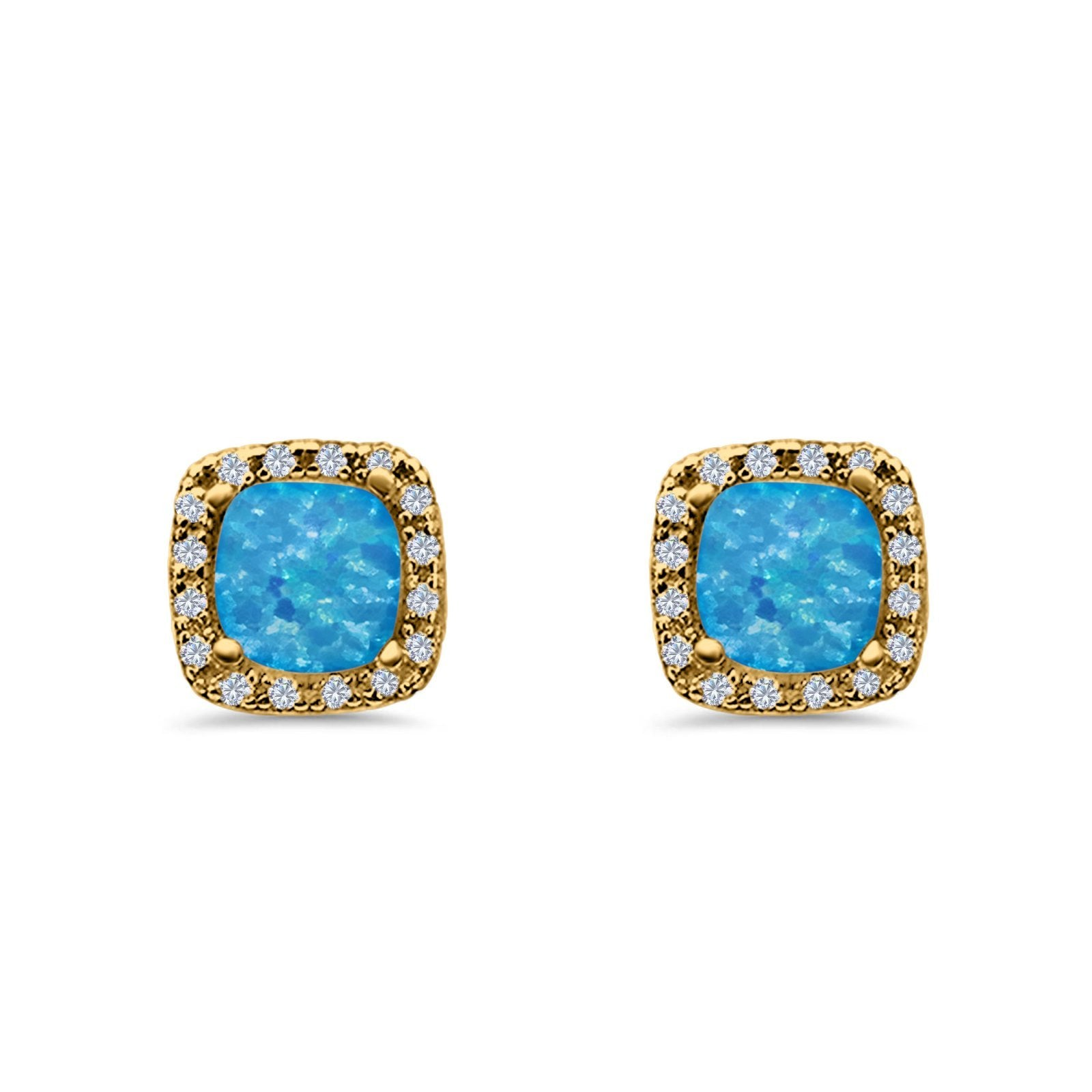Halo Cushion Engagement Earrings Yellow Tone, Lab Created Blue Opal 925 Sterling Silver