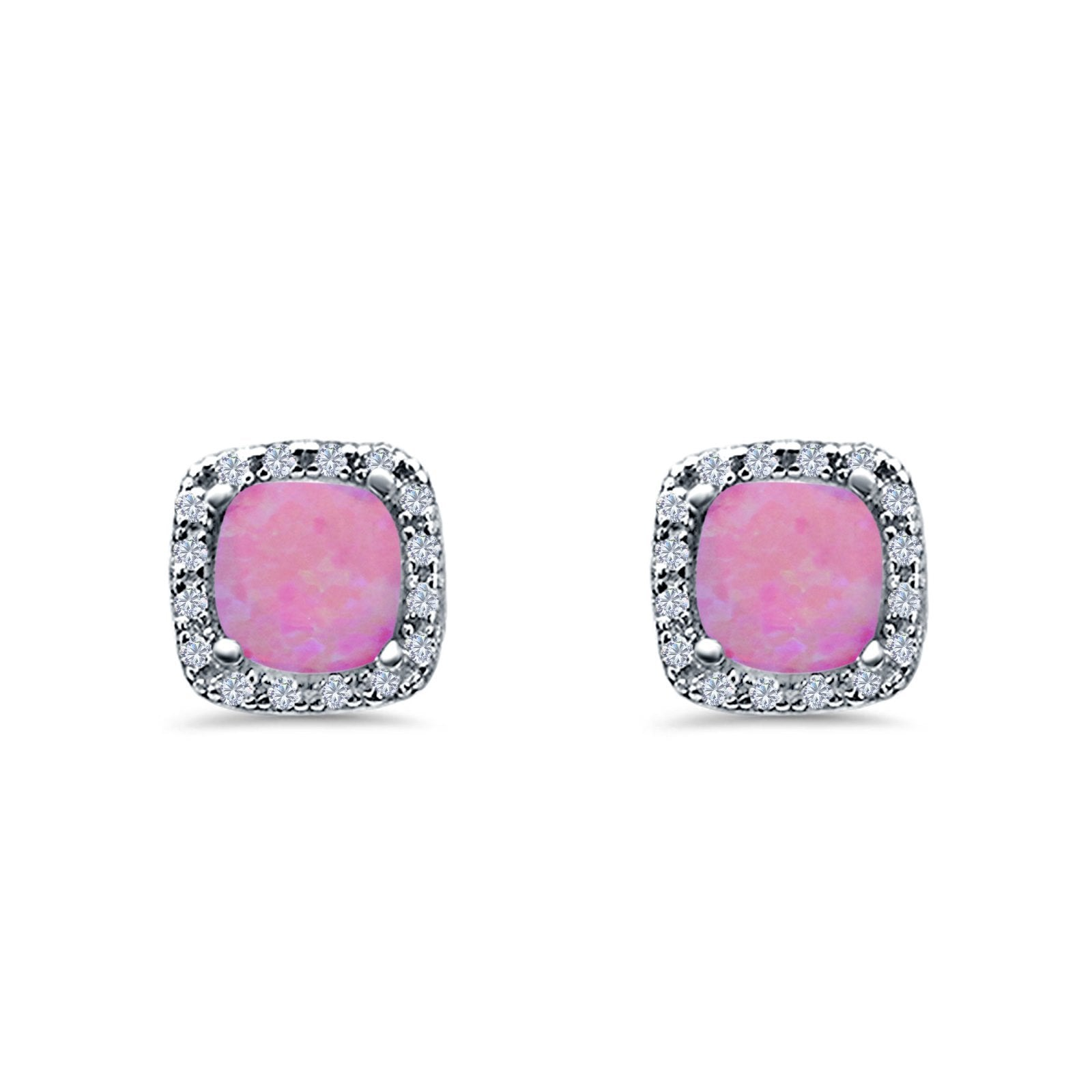 Halo Cushion Engagement Earrings Lab Created Pink Opal 925 Sterling Silver