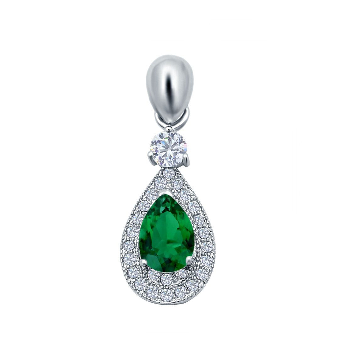 Halo Teardrop Pendant Simulated Green Emerald CZ 925 Sterling Silver (26mm)