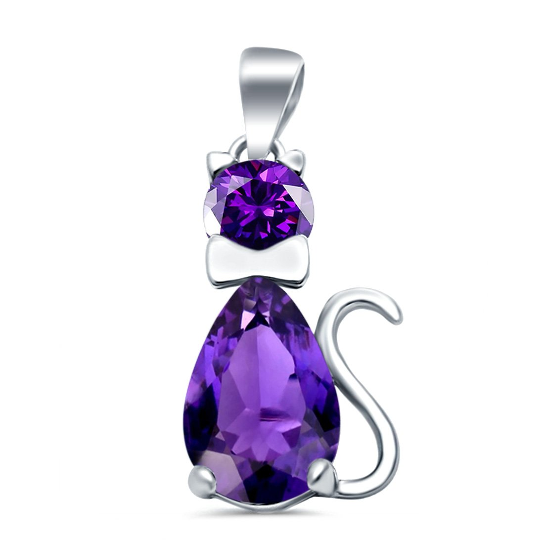 Teardrop Cat Pendant Charm Pear Simulated Amethyst CZ 925 Sterling Silver