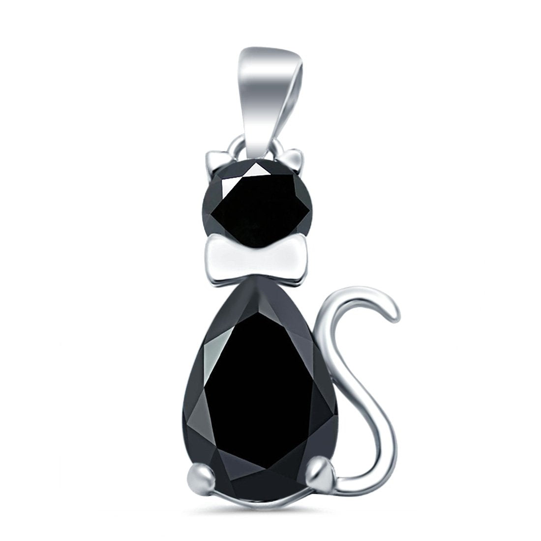 Teardrop Cat Pendant Charm Pear Simulated Black CZ 925 Sterling Silver
