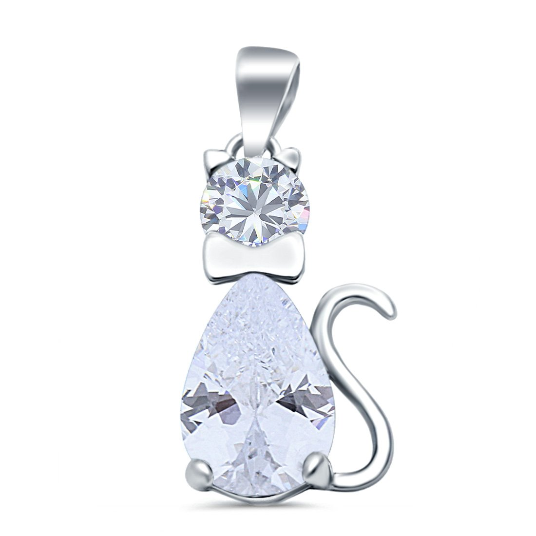 Teardrop Cat Pendant Charm Pear Simulated Cubic Zirconia 925 Sterling Silver