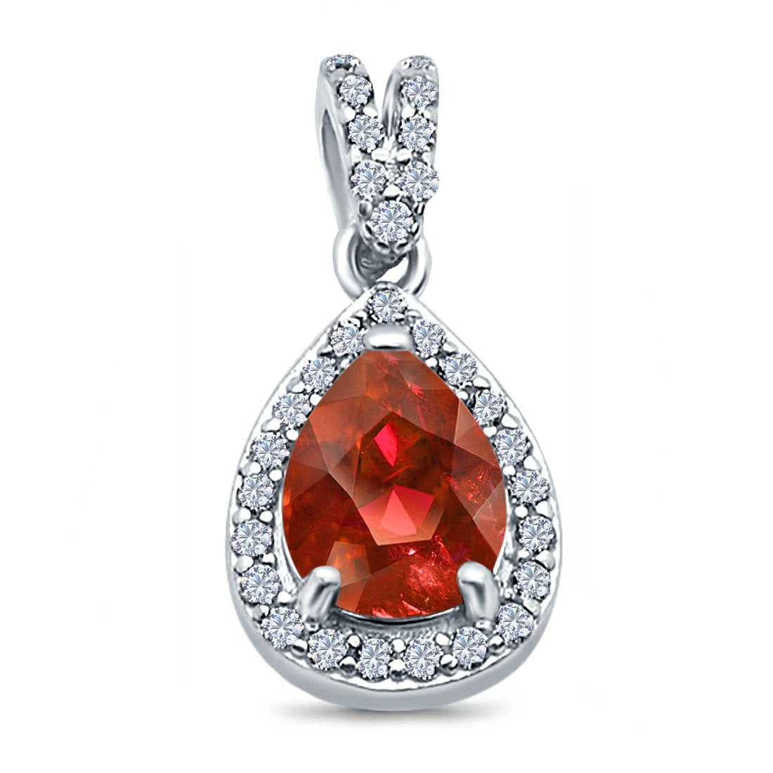 Pear Shape Simulated Garnet CZ Pendant for Necklace 925 Sterling Silver
