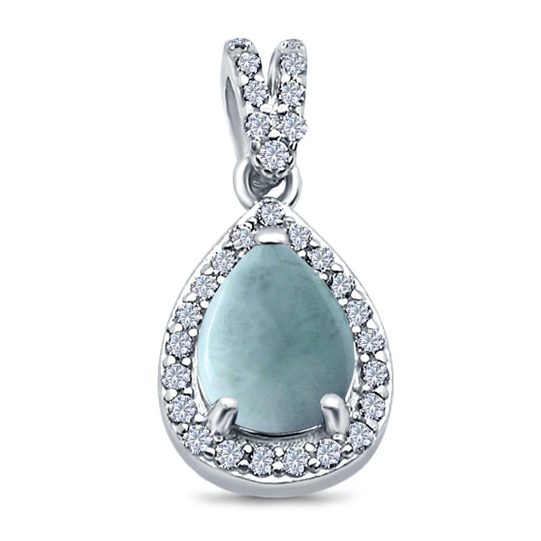 Pear Shape Simulated Larimar CZ Pendant for Necklace 925 Sterling Silver