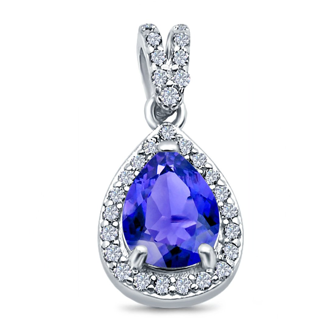 Pear Shape Simulated Tanzanite CZ Pendant for Necklace 925 Sterling Silver