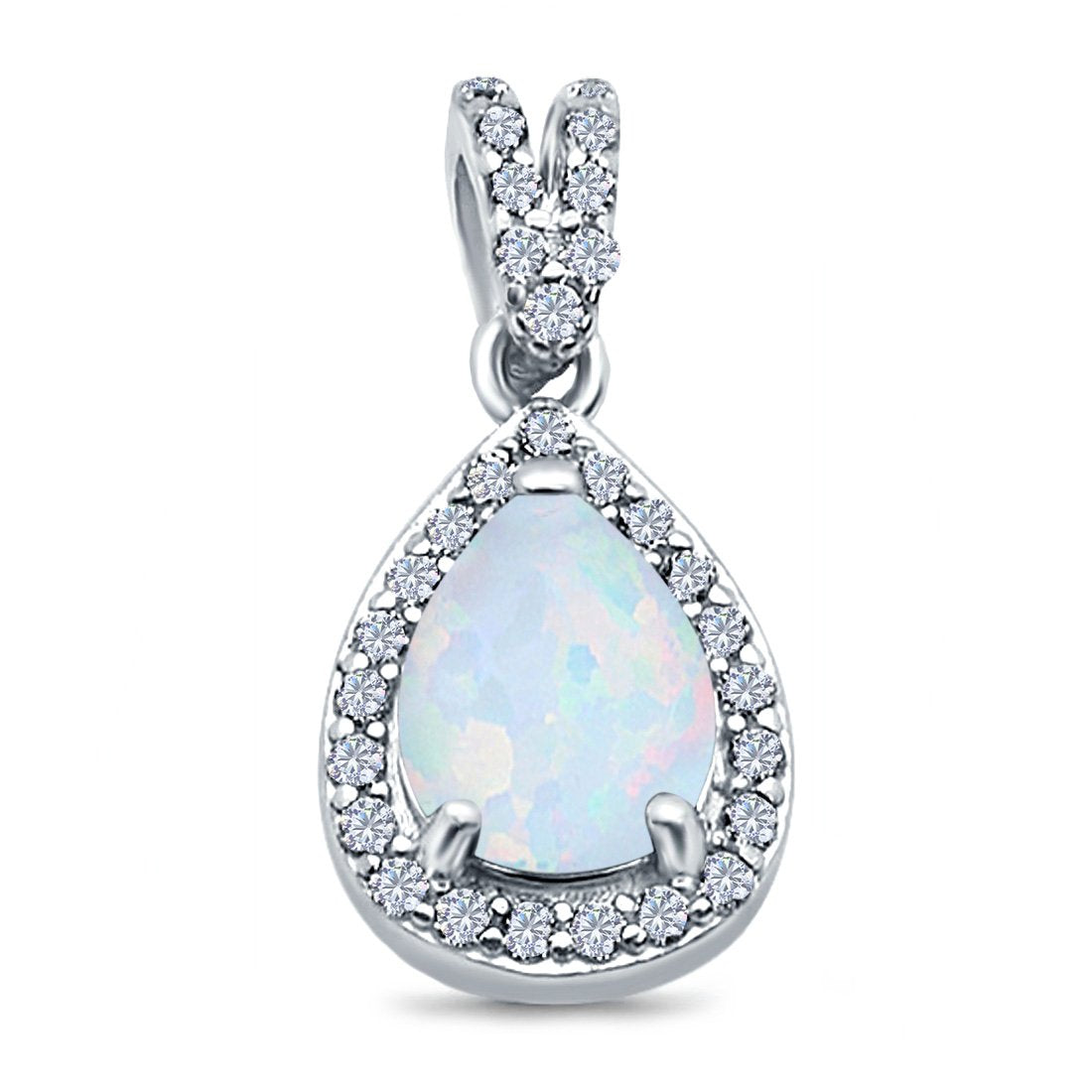 Pear Shape Lab Created White Opal Pendant for Necklace 925 Sterling Silver