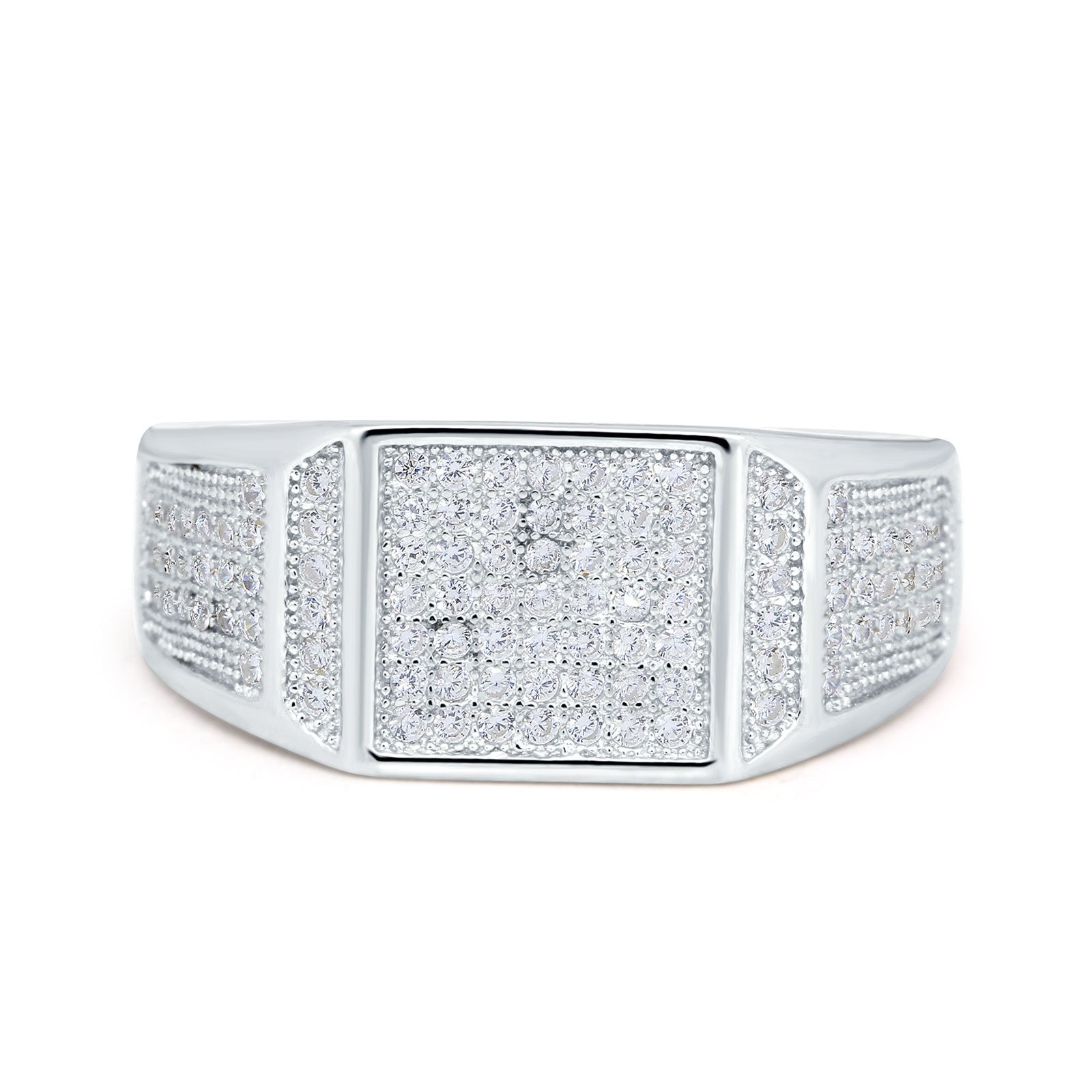 Micro Pave Eternity Engagement Ring Round Simulated CZ 925 Sterling Silver