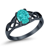 Accent Ring Oval Black Tone, Simulated Paraiba Tourmaline CZ 925 Sterling Silver