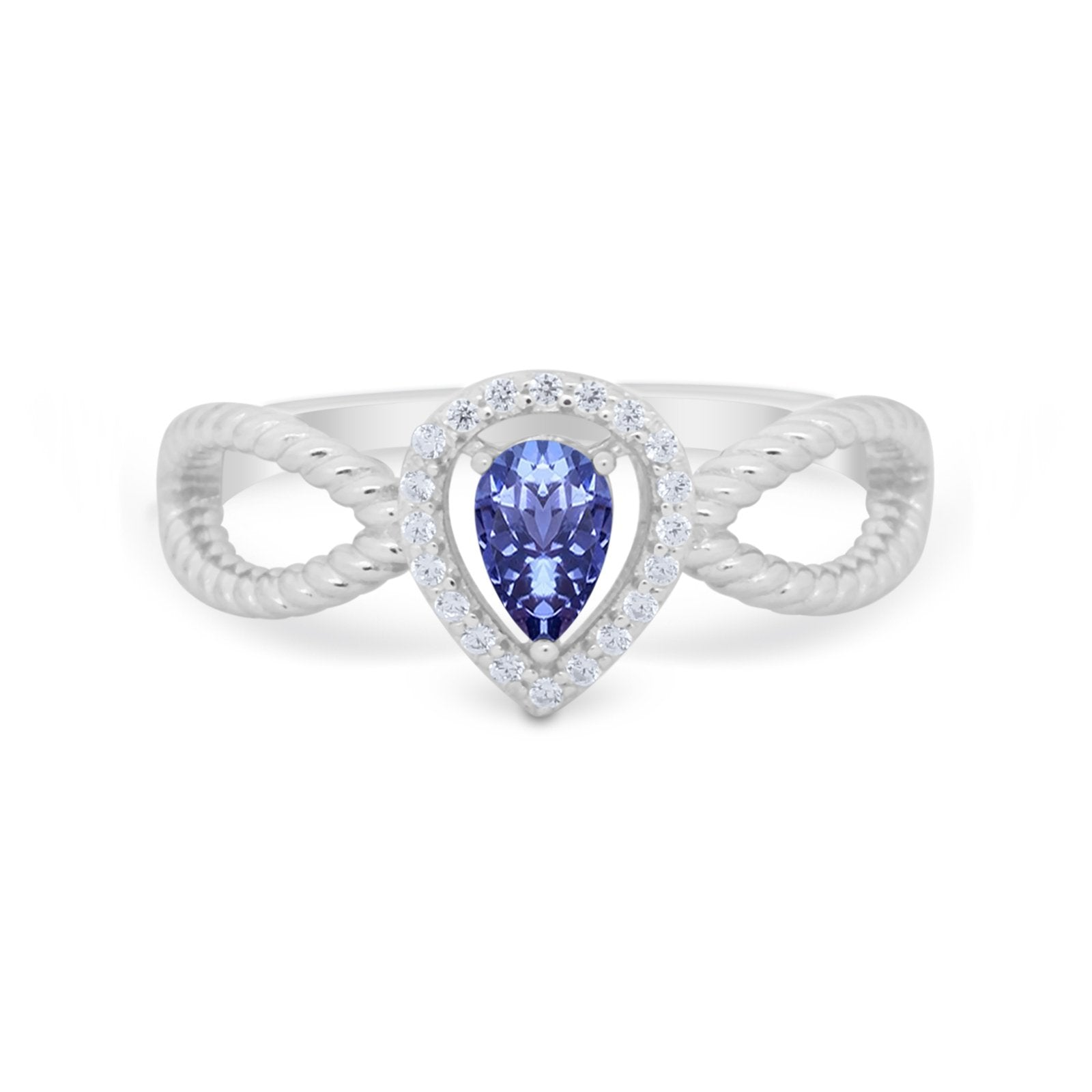 Teardrop Wedding Ring Pear Round Simulated Tanzanite CZ 925 Sterling Silver