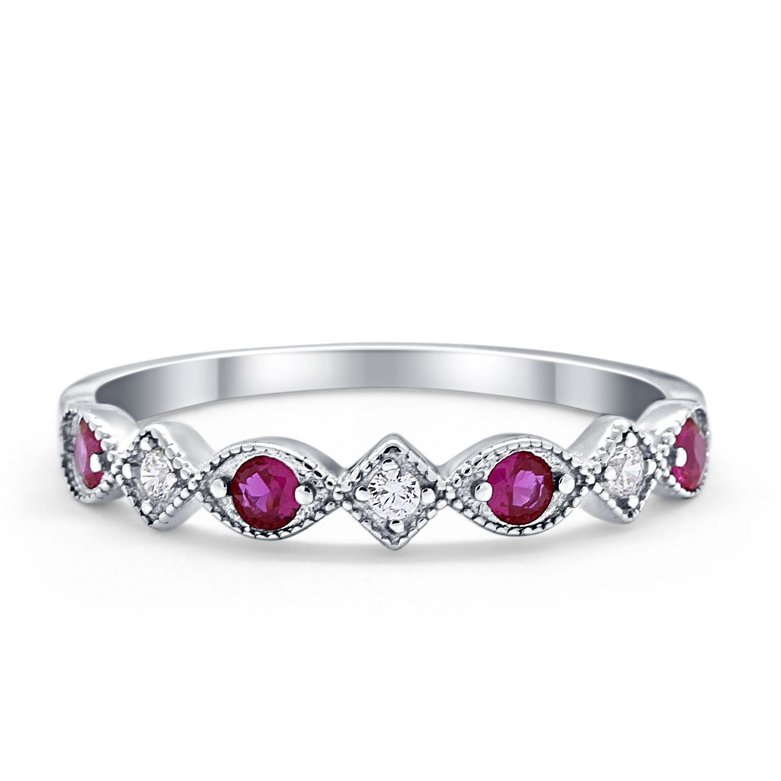 Art Deco Stacking Half Eternity Wedding Ring Simulated Ruby CZ 925 Sterling Silver