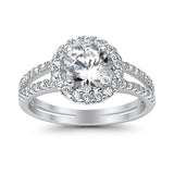 Halo Split Shank Engagement Ring Round Simulated CZ 925 Sterling Silver