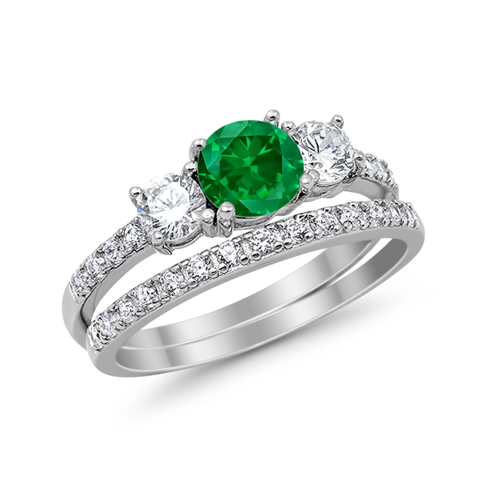 3-Stone Wedding Bridal Piece Ring Round Simulated Green Emerald CZ 925 Sterling Silver