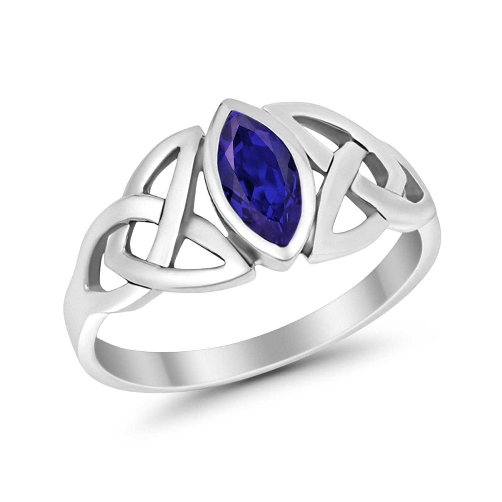 Celtic Bezel Marquise Solitaire Ring Simulated Blue Sapphire CZ 925 Sterling Silver