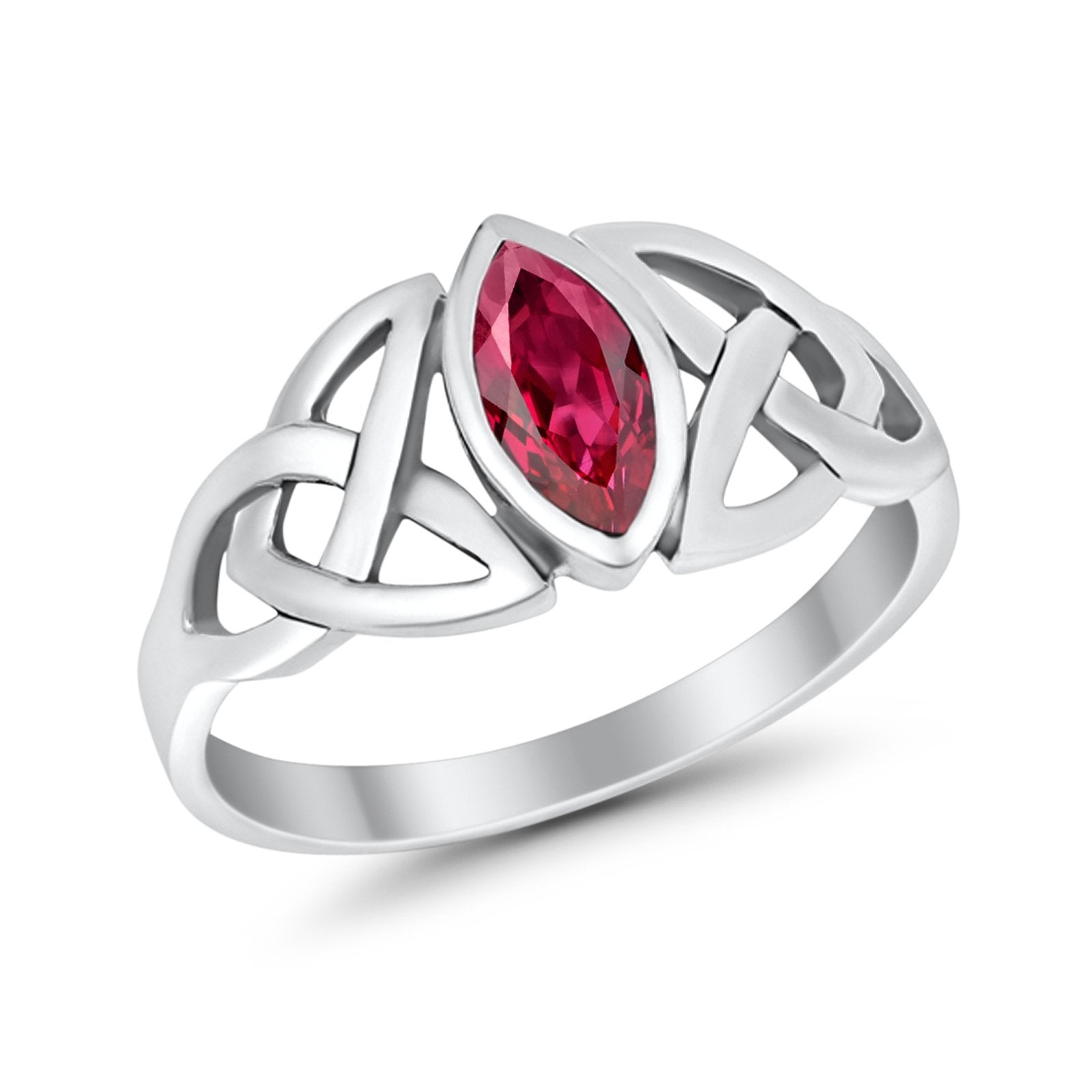 Celtic Bezel Marquise Solitaire Ring Simulated Ruby CZ 925 Sterling Silver