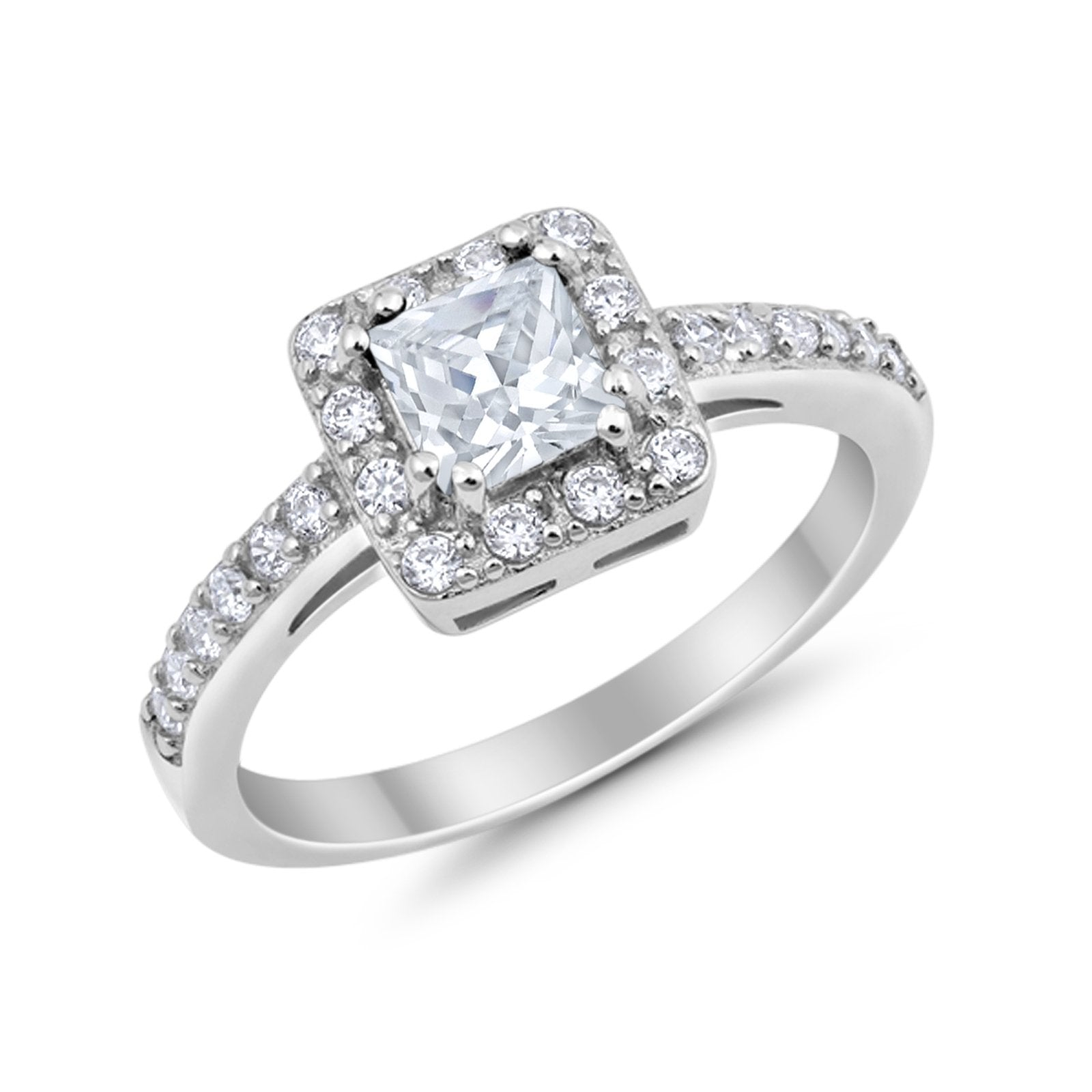 Halo Engagement Ring Princess Cut Simulated CZ 925 Sterling Silver