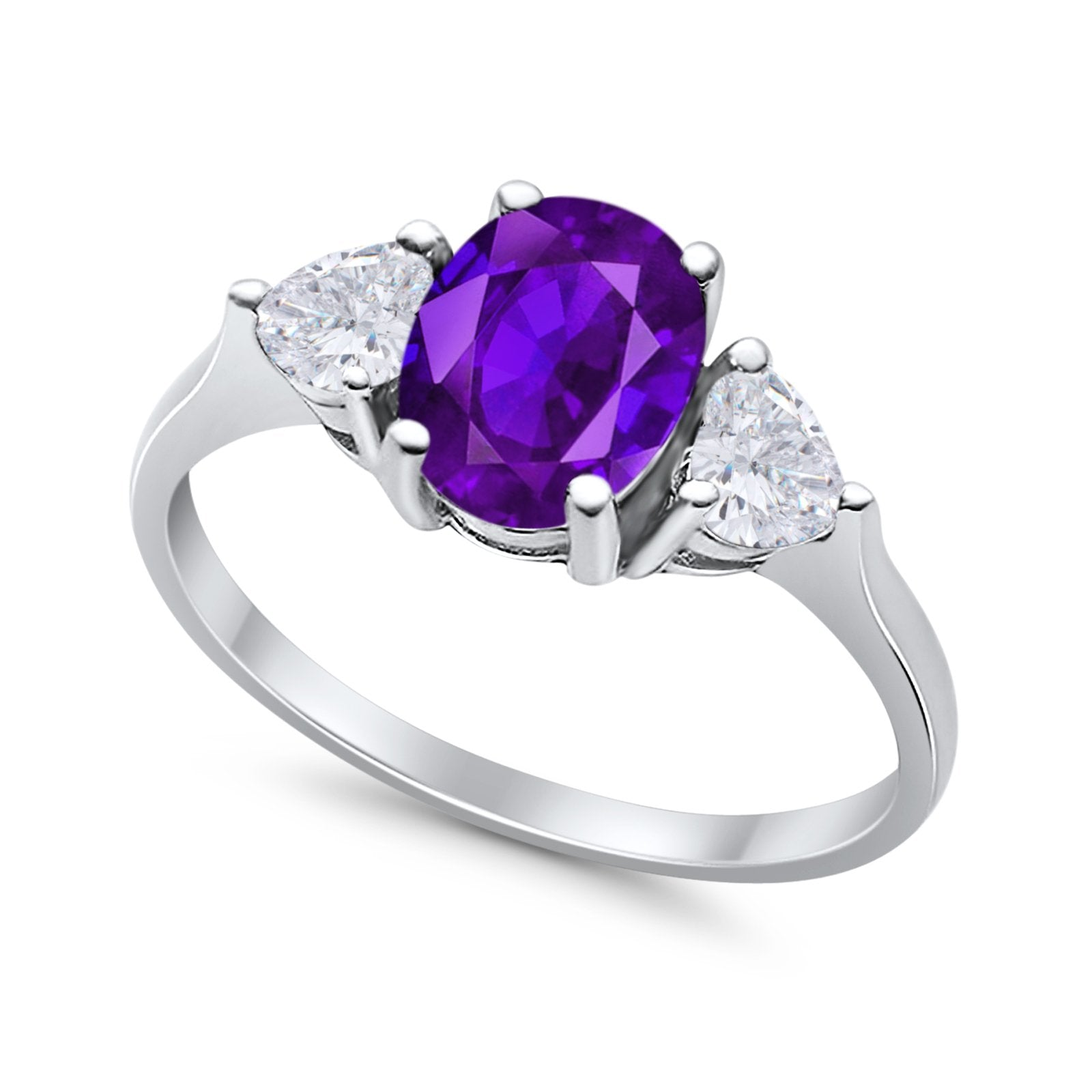 Fashion Promise Simulated Amethyst CZ Ring 925 Sterling Silver