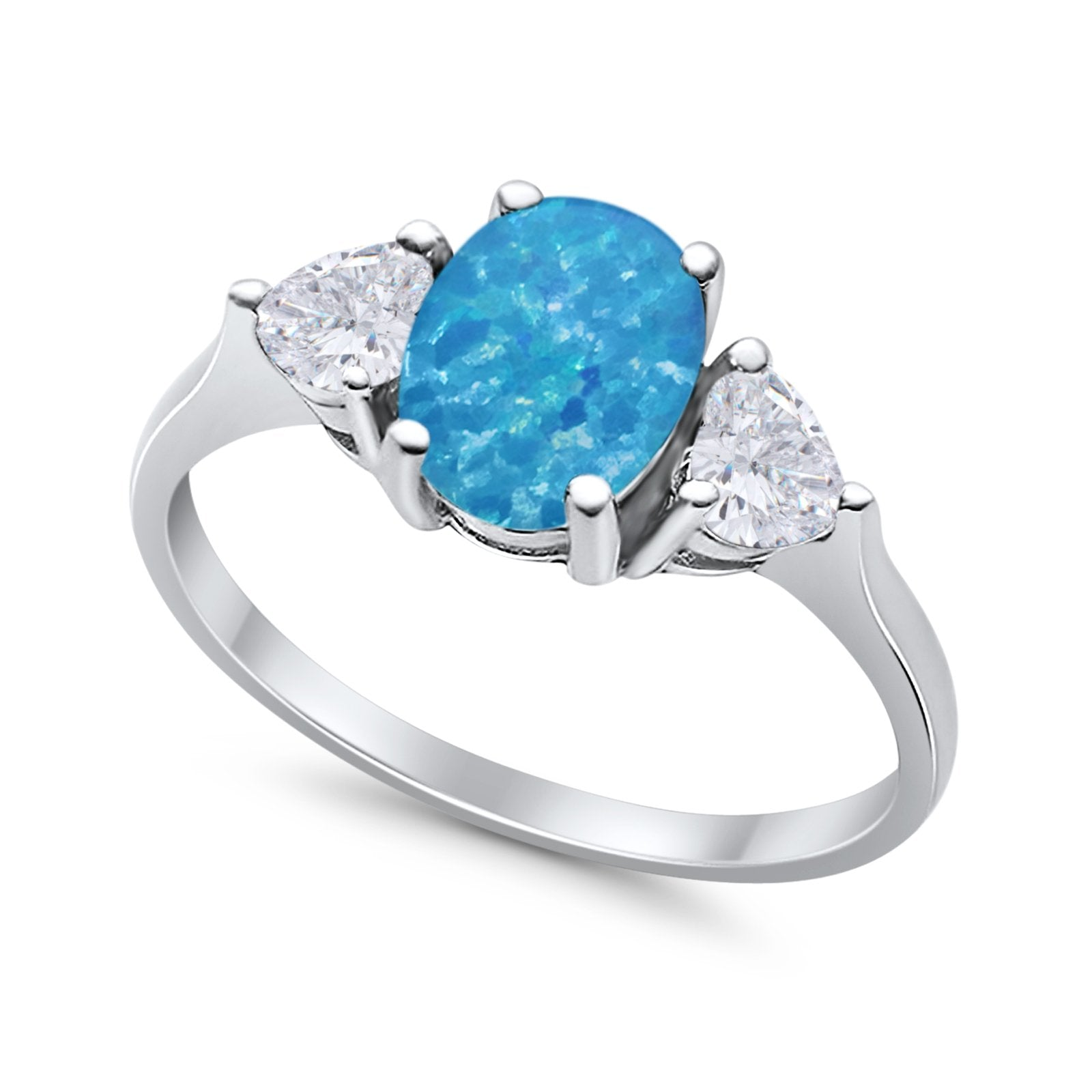 Fashion Promise Lab Created Blue Opal Ring 925 Sterling Silver