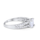 Wedding Engagement Ring Princess Cut Simulated Round CZ 925 Sterling Silver