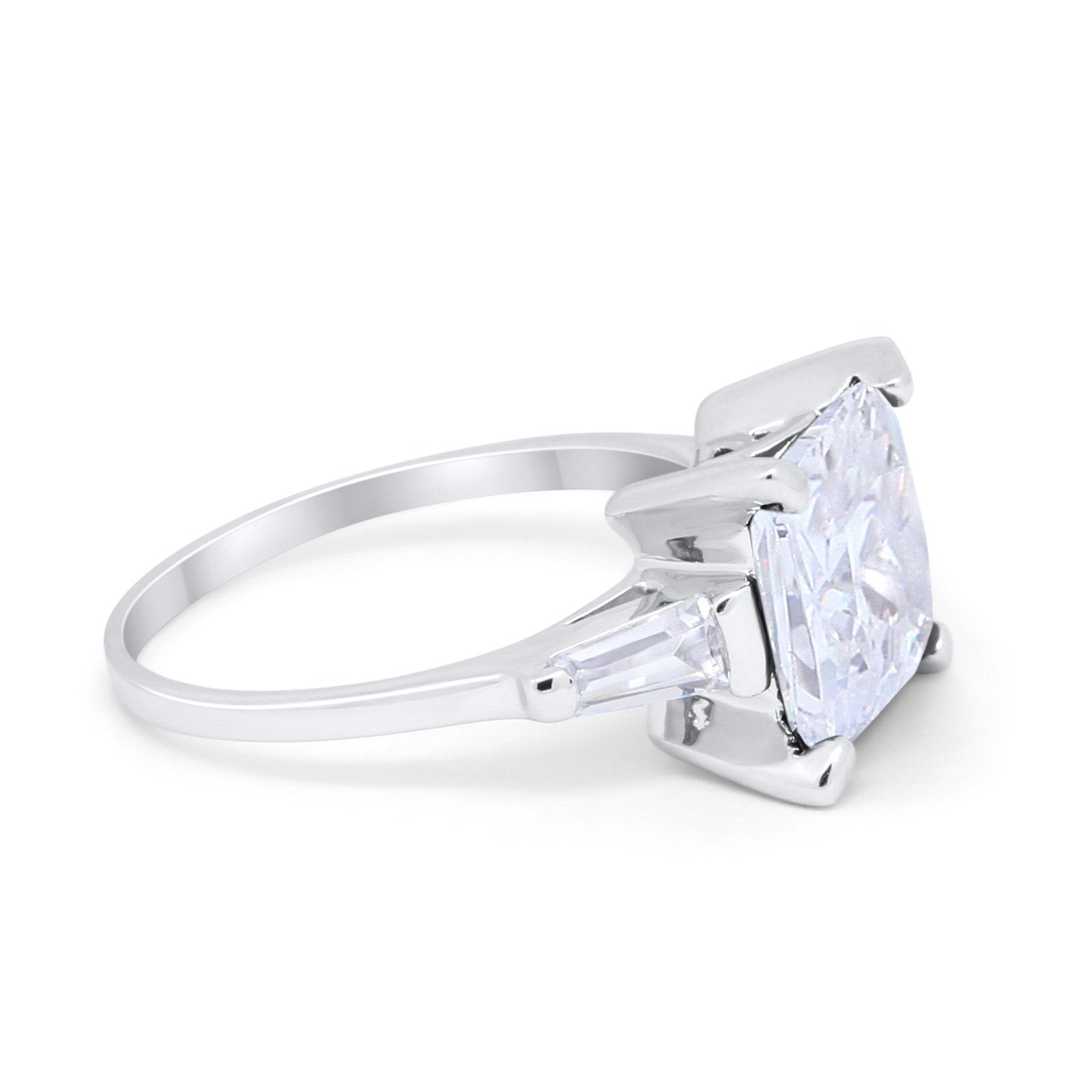 Wedding Engagement Ring Princess Cut Baguette Simulated CZ 925 Sterling Silver