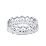 Eternity Heart Crown Ring Round Simulated Cubic Zirconia 925 Sterling Silver