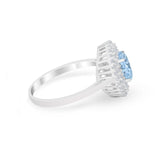 Art Deco Wedding Ring Oval Round Simulated Aquamarine CZ 925 Sterling Silver