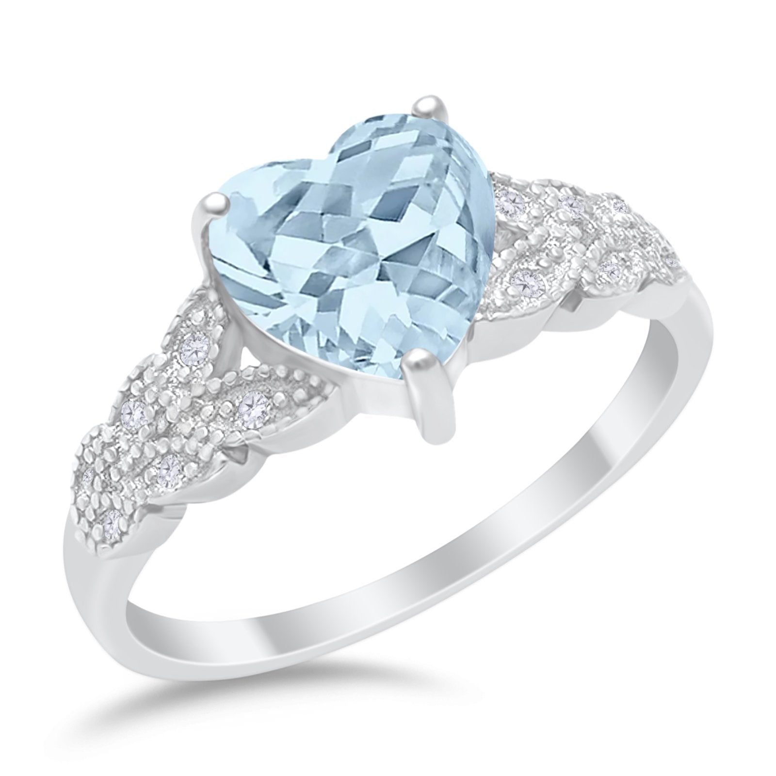Accent Heart Promise Ring Simulated Aquamarine Cubic Zirconia 925 Sterling Silver