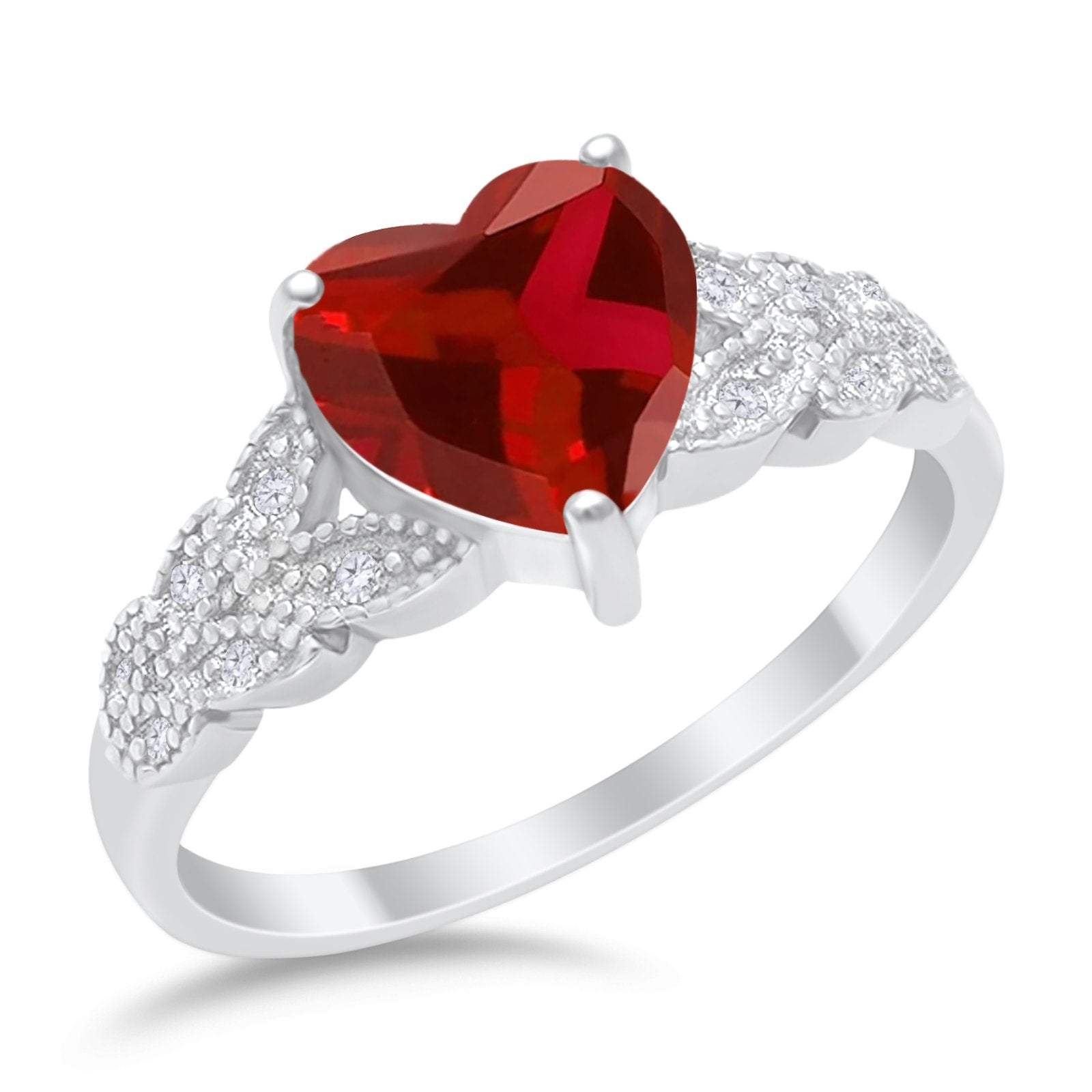 Accent Heart Promise Ring Simulated Garnet Cubic Zirconia 925 Sterling Silver