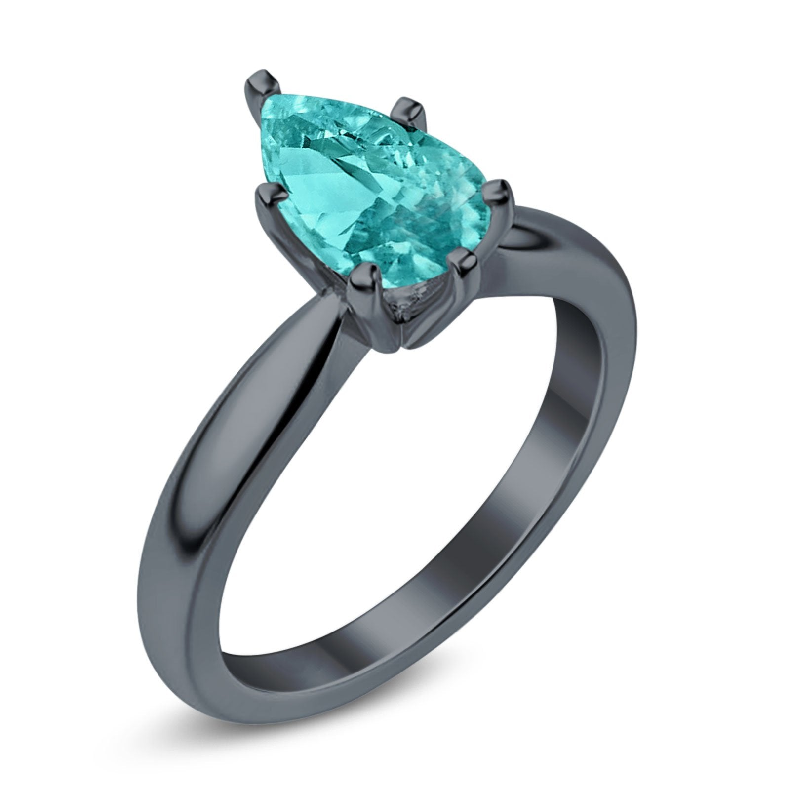 Solitaire Teardrop Black Tone, Simulated Paraiba Tourmaline CZ Wedding Ring 925 Sterling Silver Center Stone-(8mmx6mm)