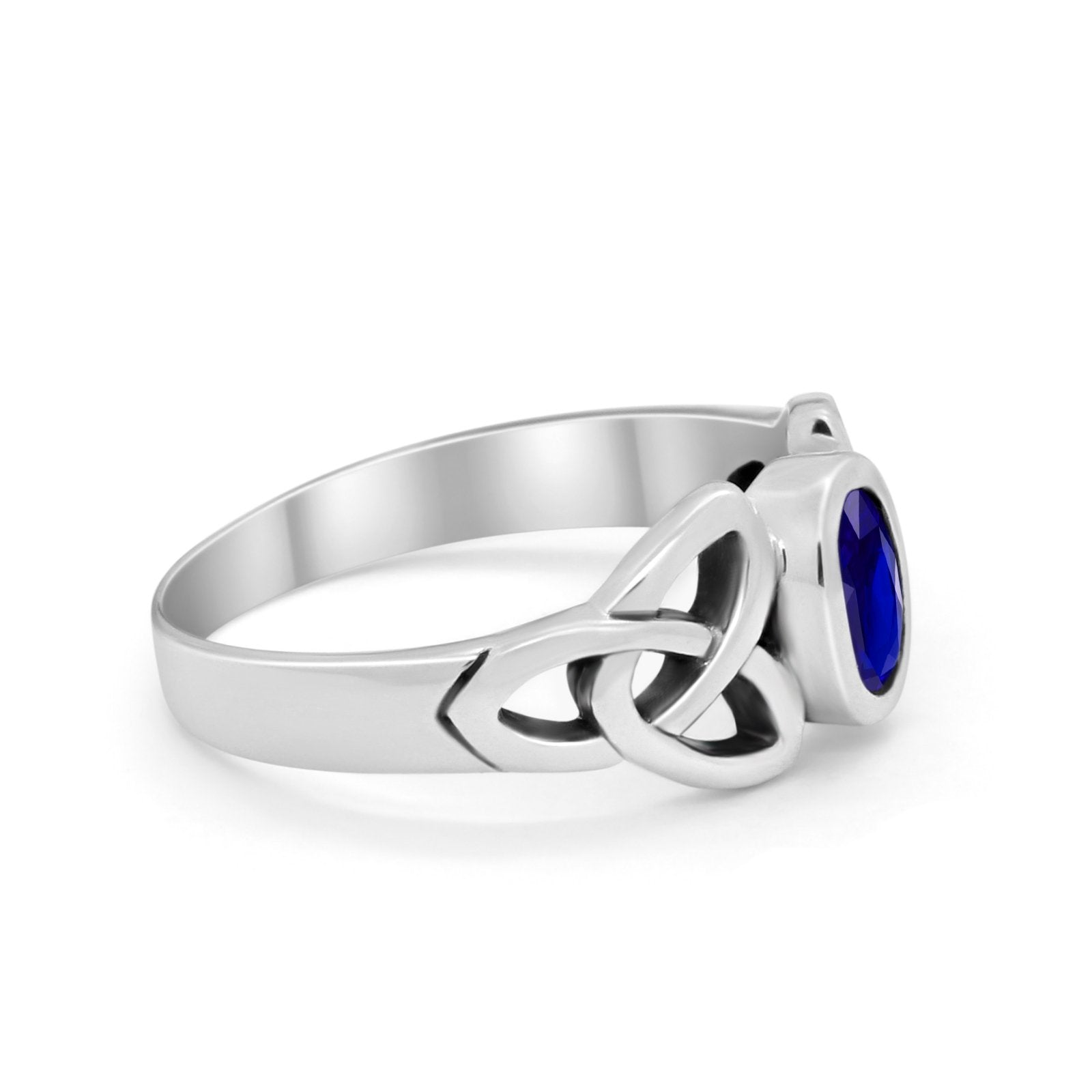 Celtic Ring Oval Bezel Stone Simulated Blue Sapphire CZ 925 Sterling Silver