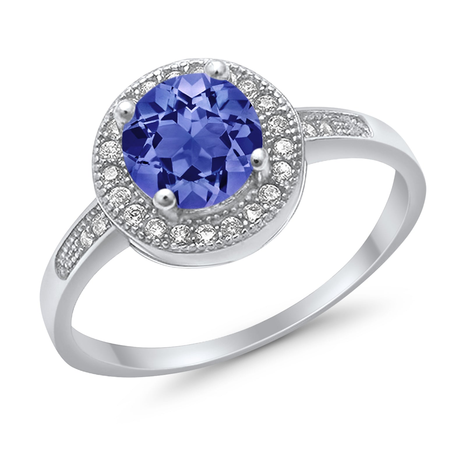 Halo Engagement Ring Round Simulated Tanzanite CZ 925 Sterling Silver