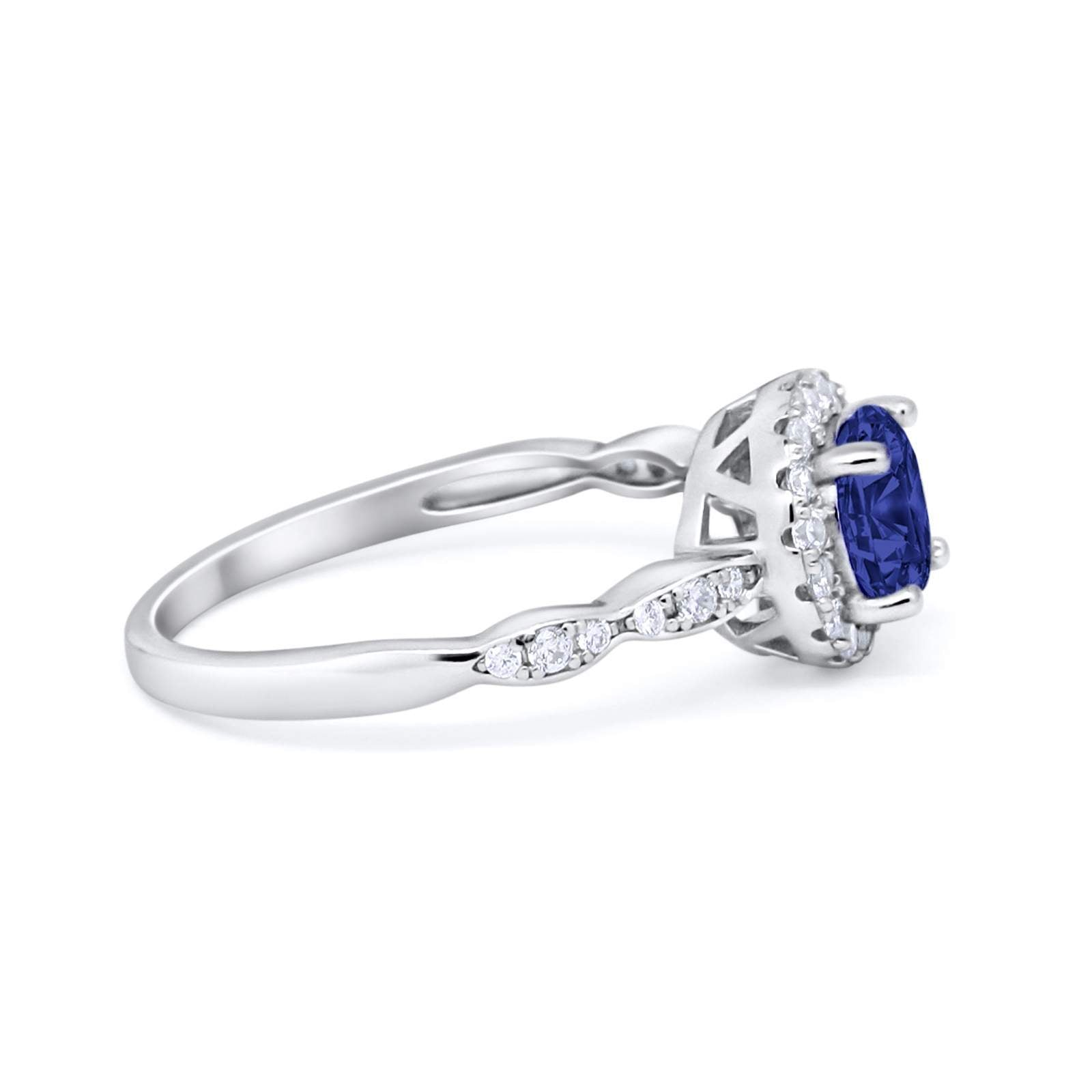 Art Deco Design Engagement Ring Simulated Blue Sapphire CZ 925 Sterling Silver