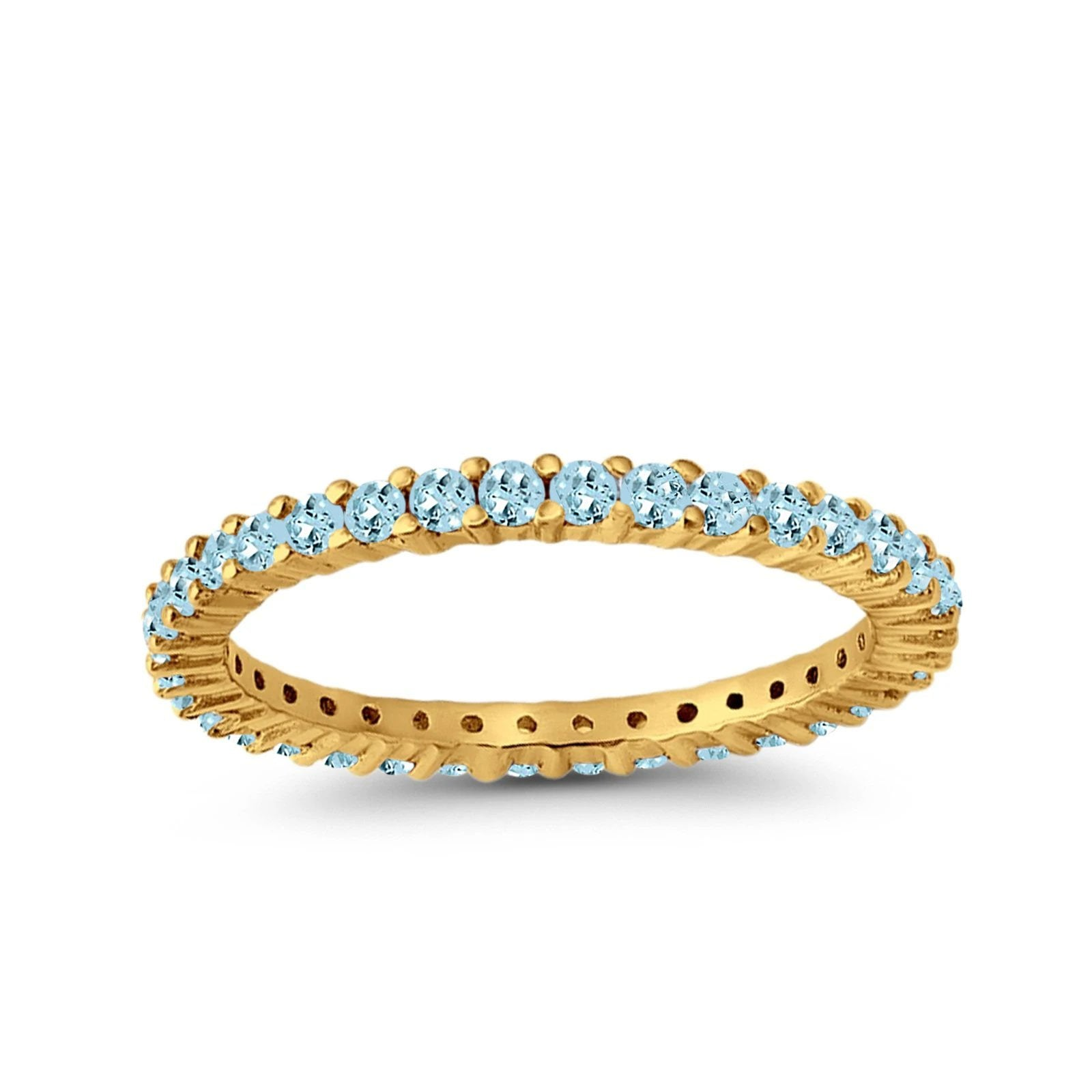 Full Eternity Wedding Round Yellow Tone, Simulated Aquamarine CZ Ring 925 Sterling Silver