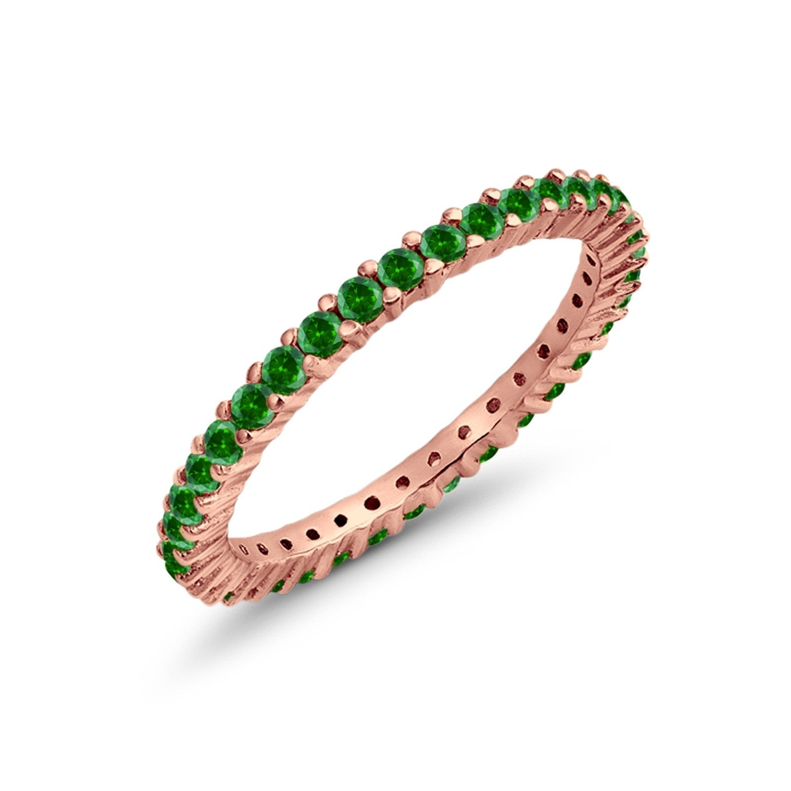 Full Eternity Wedding Round Rose Tone, Simulated Green Emerald CZ Ring 925 Sterling Silver
