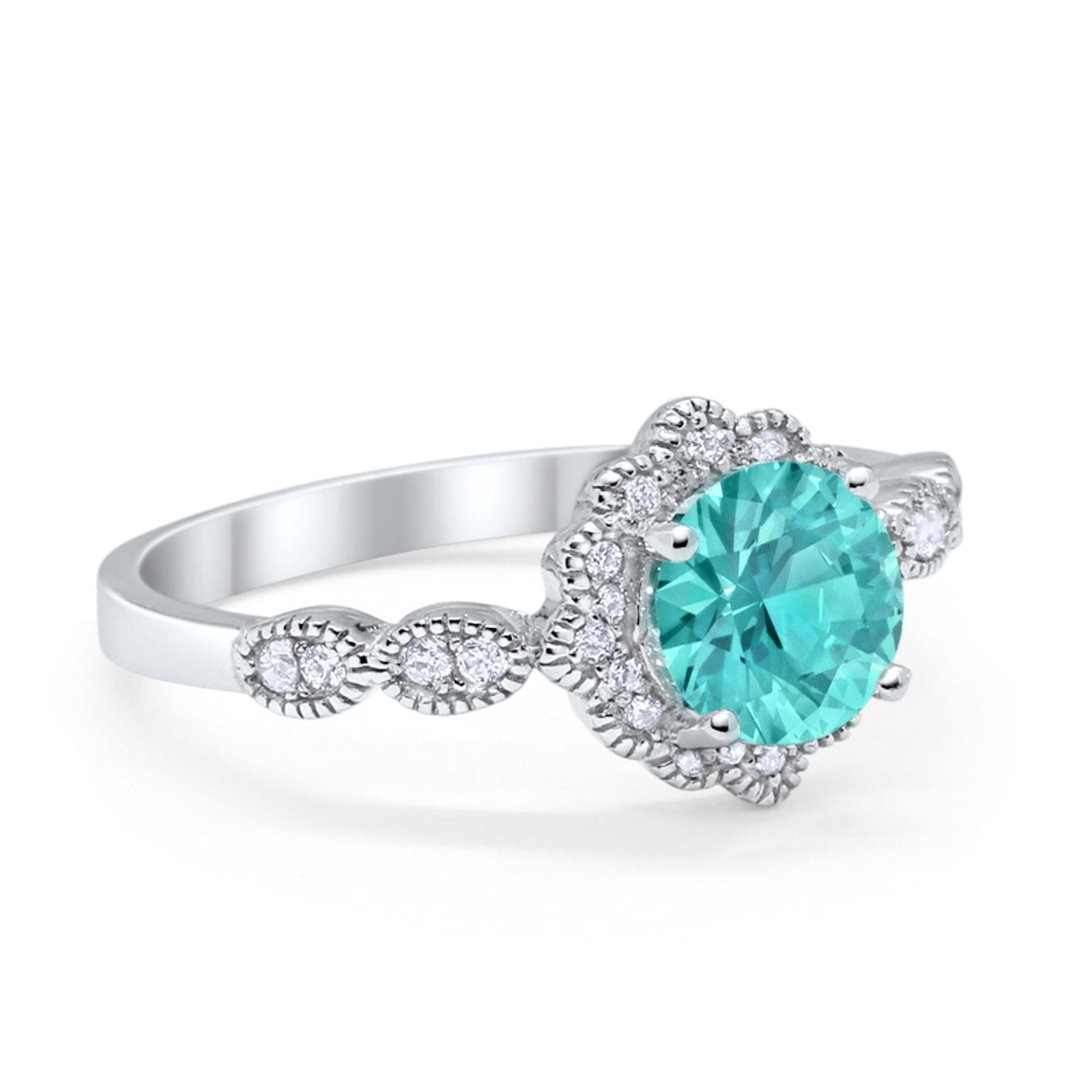 Halo Floral Art Deco Engagement Ring Simulated Paraiba Tourmaline CZ 925 Sterling Silver