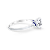 Simulated Sapphire Accent Cubic Zirconia Wedding Ring 925 Sterling Silver