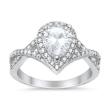 Teardrop Wedding Promise Ring Infinity Round Simulated CZ 925 Sterling Silver
